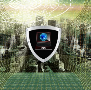 Cybersecurity shield graphic