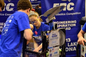 During the FIRST Robotics Competition, high school students worked in teams to design, build, program, test and fine tune their robots to meet the challenges of competition.