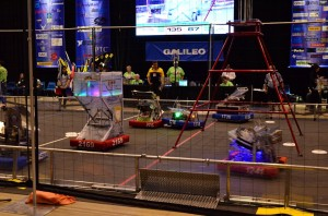 Robotics teams tried to instruct their robots to score as many flying discs into their goals as possible during two-minute and 15-second matches. Matches ended with robots attempting to climb up pyramids located near the middle of the field.