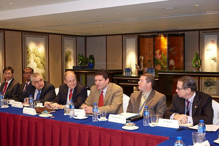 Pat Gouhin, second from right, meets with industry association executives at the KGAC event in Hong Kong.